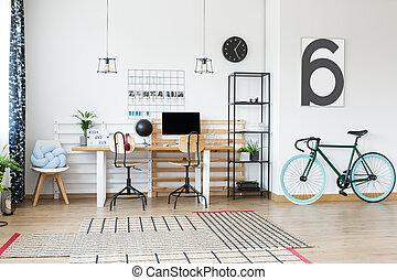 pretas, bicicleta, em, escritório lar