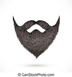 pretas, bigodes, e, barba, isolado, branco, fundo