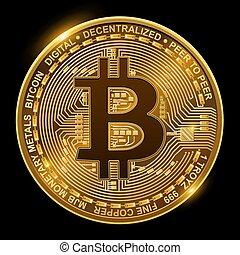 pretas, bitcoin, isolado