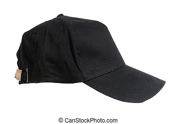 pretas, boné, basebol, em branco