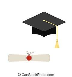 pretas, boné graduação, e, diploma, scroll, teia, ícone,...