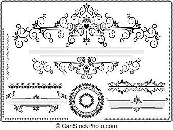 pretas, borda, ornamento, ba branco