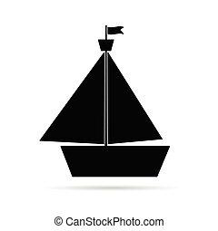 pretas, bote, ilustração, ícone