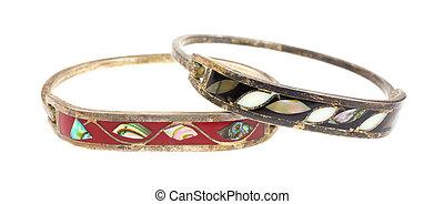 pretas, bracelets., bronze, marfim, marrom, embutido