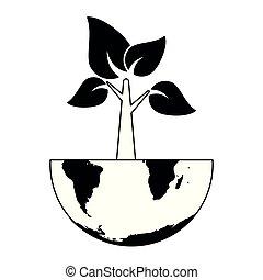 pretas, branca, árvore, terra, mundo