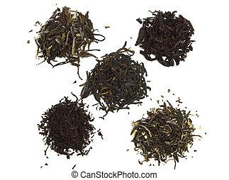 pretas, branca, chá verde