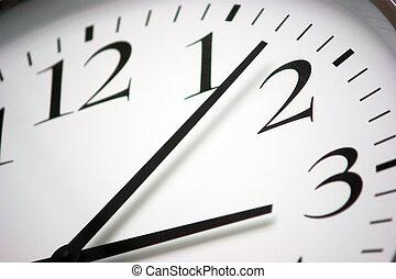 pretas, branca, closeup, redondo, relógio