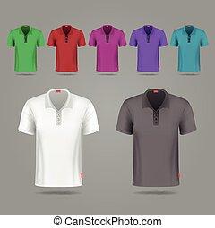 pretas, branca, e, cor, macho, vetorial, camisetas, desenho, modelo