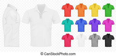 pretas, branca, e, outro, básico, cor, homens, camisetas, set., desenho, template., realístico, vetorial, ilustração, ligado, a, transperant, alfa, experiência.