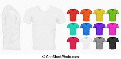 pretas, branca, e, outro, básico, cor, homens, simples, camisetas, set., realístico, desenho, modelo, vetorial, illustration.