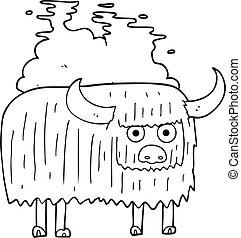 pretas, branca, fedorento, caricatura, vaca