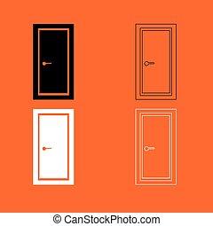 pretas, branca, jogo, porta, ícone