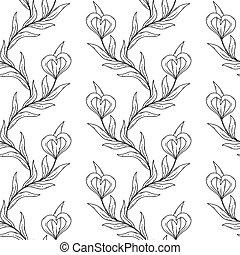 pretas, branca, seamless, pattern., floral
