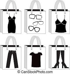 pretas, branca, shopping, bags.