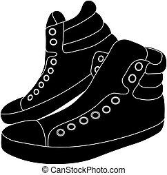 pretas, branca, sneakers, fundo, ilustração