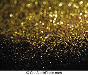 pretas, brilhar, ouro, fundo