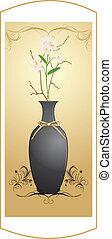 pretas, buquet, vaso, flores