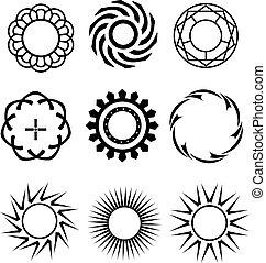 pretas, círculos, semelhante, projete elementos