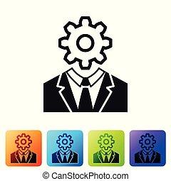 pretas, cabeça humana, com, engrenagem, dentro, ícone, isolado, branco, experiência., artificial, intelligence., cérebro pensando, sinal., símbolo, trabalho, de, brain., jogo, ícone, em, cor, quadrado, buttons., vetorial, ilustração