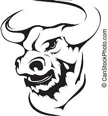 pretas, cabeça, interpretação, touro