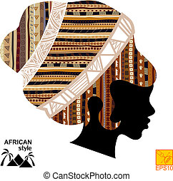 pretas, cabeça, silueta, menina, africano