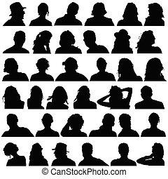 pretas, cabeça, vetorial, silueta, pessoas