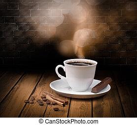 pretas, café quente, copo, com, chocolate, e, canela