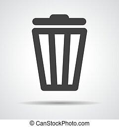 pretas, caixa lixo, ícone, ligado, um, cinzento, fundo