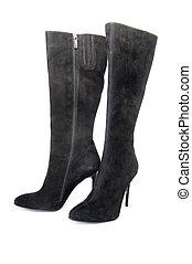 pretas, camurça, femininas, botas