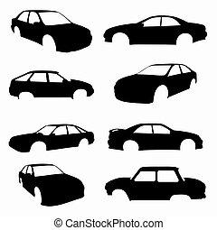 pretas, carros, compilação, isolado, símbolos