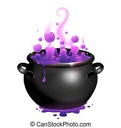 pretas, cauldron, com, roxo, bruxas, magia, poção