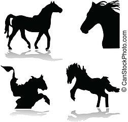 pretas, cavalos