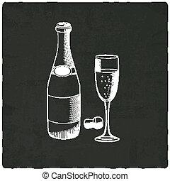 pretas, champanhe, antigas, fundo