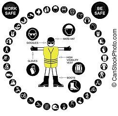 pretas, circular, saúde segurança, ic