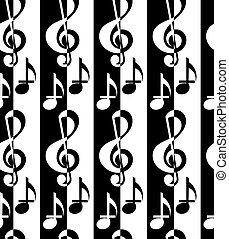 pretas, clef, g, notas música, alternando, branca