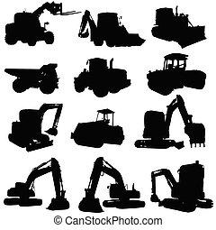 pretas, construção, silueta, veículo