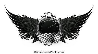 pretas, correndo, emblema, asas, eps10