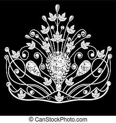 pretas, diadema, casório, corona, feminina