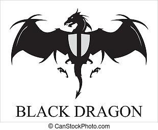 pretas, dragão, espalhar, asas