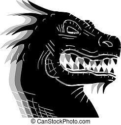 pretas, efeito, dragão