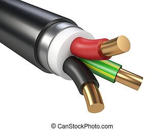 pretas, elétrico, cable.