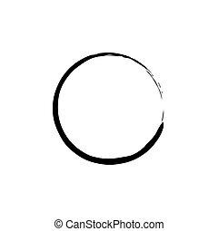 pretas, enso, zen, círculo, branco, experiência., vetorial, ilustração