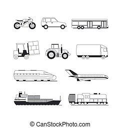 pretas, esboço, transporte, ícones