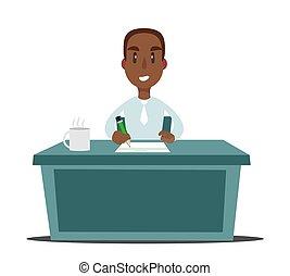 pretas, escritório, trabalhando, apartamento, escriturário, pessoa, ilustração, homem negócios, americano, desk., ou, africano
