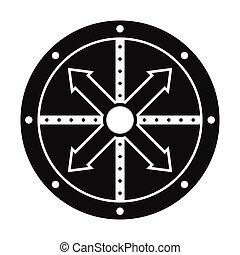 pretas, escudo, ícone