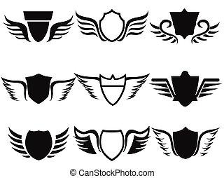 pretas, escudo, asas, ícone