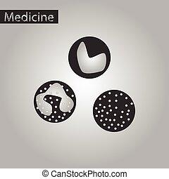 pretas, estilo, leukocyte, branca, ícone