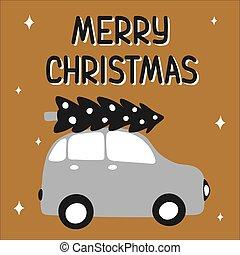 pretas, estilo, ouro, illustration., escandinavo, prata, colors., mão, tronco, desenhado, suitable, lettering, vetorial, card., feliz, engraçado, natal, afortunado, asseado, car, saudação