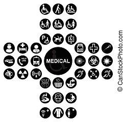 pretas, exame médico saúde, cuidado, ícone, cobrança