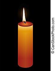 pretas, experiência., vetorial, vela, ilustração, queimadura